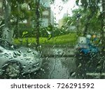 view of a rain drops on the car ... | Shutterstock . vector #726291592