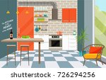 kitchen interior with bar... | Shutterstock .eps vector #726294256