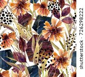 autumn watercolor floral...   Shutterstock . vector #726298222