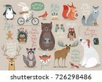 christmas set  hand drawn style ... | Shutterstock .eps vector #726298486