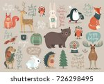christmas set  hand drawn style ... | Shutterstock .eps vector #726298495