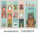 calendar 2018. cute monthly... | Shutterstock .eps vector #726298525