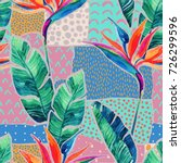 Watercolor Tropical Flowers On...