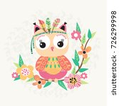 cute owl with feather on a... | Shutterstock .eps vector #726299998