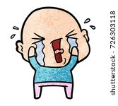 cartoon crying bald man | Shutterstock .eps vector #726303118