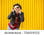 happy young woman over bright... | Shutterstock . vector #726319222