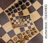 abstract wooden chess board... | Shutterstock . vector #726324832