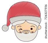 santa claus kawaii face wink...   Shutterstock .eps vector #726327556