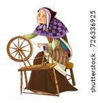 cartoon older woman near... | Shutterstock . vector #726336925