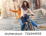 happy young couple having fun... | Shutterstock . vector #726344935
