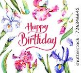 wildflower iris flower frame in ... | Shutterstock . vector #726346642