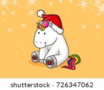 cute christmas comic unicorn