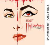 happy halloween card. pretty...   Shutterstock .eps vector #726354016