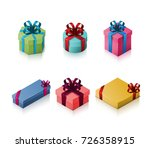 set of gift boxes with bows and ... | Shutterstock .eps vector #726358915