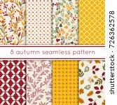 set of 8 cute seamless autumn...   Shutterstock .eps vector #726362578