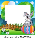 vector illustration easter frame with bunny on egg vector illustration - Easter Frames