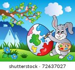 spring meadow with bunny artist ... | Shutterstock .eps vector #72637027