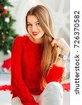 smiling female model in red... | Shutterstock . vector #726370582