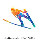 abstract jumping skier from... | Shutterstock . vector #726372835
