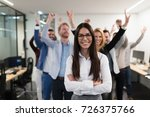 successful team of young... | Shutterstock . vector #726375766