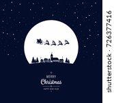 santa sleigh flying into the... | Shutterstock .eps vector #726377416
