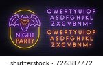 bat neon sign  bright signboard ... | Shutterstock .eps vector #726387772