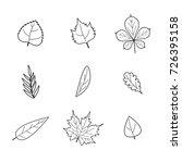 flat line autumn forest leaves...   Shutterstock .eps vector #726395158