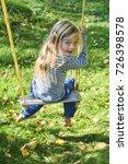 little child blond girl having... | Shutterstock . vector #726398578