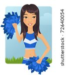 Cute Asian cheerleader - stock vector