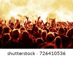 cheering crowd at rock concert... | Shutterstock . vector #726410536