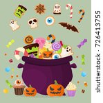 halloween party cauldron... | Shutterstock .eps vector #726413755
