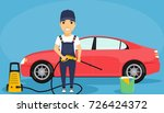 a young man is washing cars.... | Shutterstock .eps vector #726424372