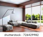 modern bright interiors. 3d... | Shutterstock . vector #726429982
