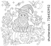 halloween coloring page. cat in ... | Shutterstock .eps vector #726432952