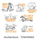 halloween holiday horror or... | Shutterstock .eps vector #726434062