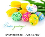 Easter Eggs With Yellow Tulip...