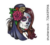 day of dead make up girl with... | Shutterstock .eps vector #726439546