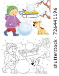 four seasons. a cute boy and... | Shutterstock . vector #726441196
