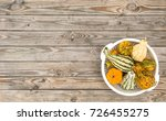 pumpkin on rustic wooden table... | Shutterstock . vector #726455275