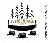 lumberjack at work with saw... | Shutterstock .eps vector #726459322