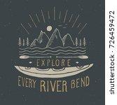 kayak and canoe vintage label ... | Shutterstock .eps vector #726459472