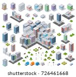 urban set isometric area of the ... | Shutterstock .eps vector #726461668