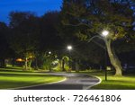 Peaceful Park In The Night Wit...