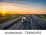 colorful sunset at m1 motorway... | Shutterstock . vector #726461932