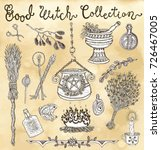 collection with witch objects... | Shutterstock .eps vector #726467005
