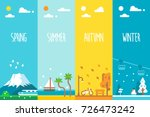 flat design 4 seasons... | Shutterstock .eps vector #726473242