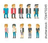 flat design teen students set...   Shutterstock .eps vector #726473245