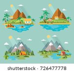 set of beautiful tropical and... | Shutterstock .eps vector #726477778