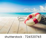 life saver on a dock at the... | Shutterstock . vector #726520765