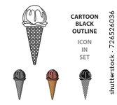 ice cream in waffle cone icon... | Shutterstock .eps vector #726526036
